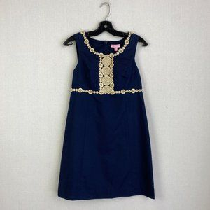 LILLY PULITZER Blue Dress With Embroidery Details